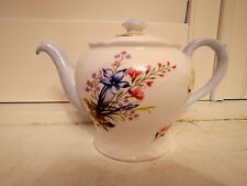 Rare! Vintage Shelley Wild Flowers Teapot Blue Fine Bone China