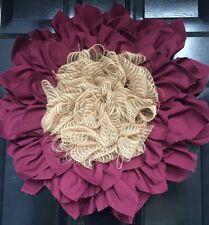 Fall Maroon Flower Door Wreath  Fabric Jute Burlap Medium 20 inches
