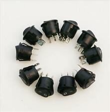 5xNew Mini Round 3 Pin SPDT ON-OFF Rocker  Switch Snap-in Black