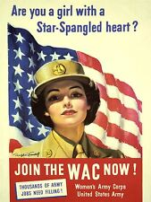 ART PRINT POSTER PROPAGANDA WWII WAR USA WAC WOMEN FLAG STARS STRIPES NOFL1031