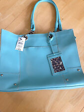 New Wilsons Leather Light Blue Tote Bag Purse Computer Laptop Bag NWT