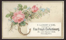 1880's FINE FRENCH CONFECTIONERY, PHILADELPHIA CANDY SHOP TRADE CARD, TC890