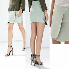 *ZARA*Light Green Thick Stretchable Jersey Wrap Mini Skirt sz-L  Formal Casual