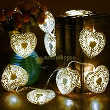 10 LED Cool White Metal Love Heart String Fairy Light Christmas Wedding Party