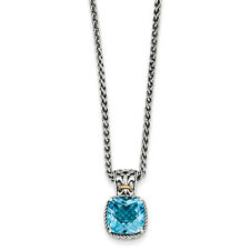 """Blue Topaz Charm 18"""" Necklace .925 Sterling Silver & 14K Accent Shey Couture"""