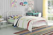 Bed Frame Full Size Metal Headboard Footboard Bedroom Furniture White Foundation