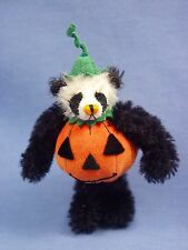 "DEB CANHAM'S ""PANDA PUMPKIN"" BLACK & WHITE MINI PANDA DRESSED AS PUMPKIN- 3 3/4"""