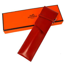 Authentic HERMES Pen Case Holder Stationery Red Box Calf Leather France RK10096