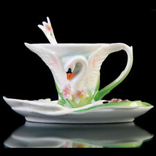 Porcelain White Swan Flower Coffee Expresso Set Tea Set Milk Cup Saucer Spoon