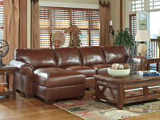 PALACE-Large Traditional Brown Real Leather Living Room Couch Sofa Sectional Set