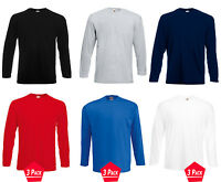 3 Pack Men's 100% Cotton Fruit Of The Loom Long Sleeve T-Shirt Tee Top Plain New