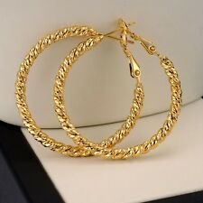 18k Yellow Gold Filled Women Earrings ring Hoop 35mm GF Fashion Jewelry