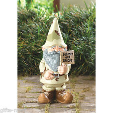 SUPPORT OUR TROOPS military camouflage GNOME LAWN ART STATUE outdoor army usmc