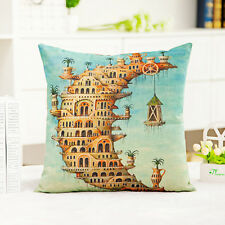 Home Decorate Work Cotton Linen Moon Castal Aqua Cushion Cover Pillow Sofa 45cm