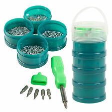 Screwdriver Bucket Set + 1000 Assorted Nails Screws Nuts Bolts Washers DIY Kit