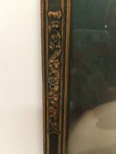 ANTIQUE  FRAMED PORTRAIT  WOODEN GESSO CONVEX BUBBLE GLASS  PICTURE FRAME