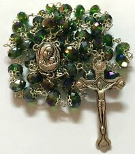 Green Glass Crystal Bead Rosary w/Holy Earth Soil Silver Crucifix Jerusalem