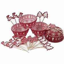 48 Natale Cup Cake Baking caso Picks topper KIT Fiocco di Neve Renna Rosso Festa Decor