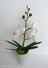 ATTRACTIVE FAUX SILK WHITE ORCHID IN SMALL POT