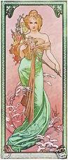 SPRING, 1900 Alphonse Mucha Vintage Art Nouveau Rolled CANVAS PRINT 17x34 in.