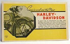 1936 HARLEY DAVIDSON Motorcycle Dealer promotional advertising postcard UNUSED
