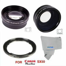 HD WIDE ANGLE LENS + MACRO LENS +2X TELEPHOTO ZOOM LENS FOR CANON POWERSHOT SX50
