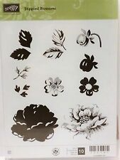 Stampin Up STIPPLED BLOSSOMS stamps flower stem silhouette rose ONLY 1 USED