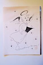 VINTAGE 1946 SILVER GLITTER ANGEL SIGNED LITHO CHRISTMAS CARD by CARD MART