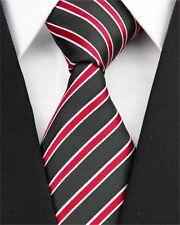 PRICED TO CLEAR!! Mens Skinny Retro Striped Silk Necktie Tie Black Red White