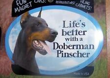 Life's Better With A Doberman Dog Car Fridge Plastic Magnet