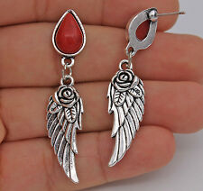 "1.89"" Noble Vintage Rose Wing Waterdrop Red Resin Women Drop Earrings Gifts #02"