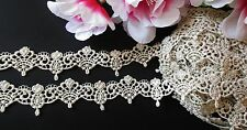 Silver with gold Vintage embroidery lace  - price by the yard