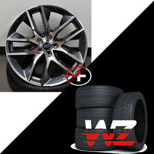 """20"""" Ford Mustang Style Wheels w Tires Gunmetal Machined fits Ford Mustang 5x4.5"""