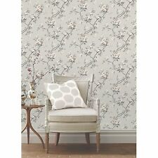 CHINOISERIE BIRD WALLPAPER - GREY - FD40764 - FINE DECOR