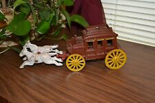 Old Cast Iron Red Stagecoach wagon & horses