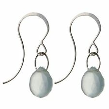 NEW Melissa Joy Manning Single Drop Earrings Sterling Silver and Chalcedony