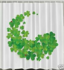 Clovers X-LONG Fabric SHOWER CURTAIN Ladybugs Luck Irish Green St Patricks Bath