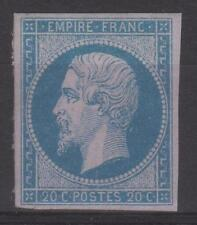 "FRANCE STAMP TIMBRE N° 14 A "" NAPOLEON III 20c BLEU TYPE I "" NEUF xx A VOIR N158"