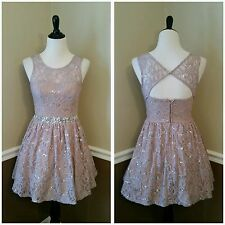 NEW $99 Modcloth Song and Radiance Dress S 5 Tan Lace Sequins Flare Formal Prom