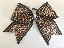 Large Leopard Diamonte Cheer Bow Hair Accessory Cheerleading NWT Party Gift Gym
