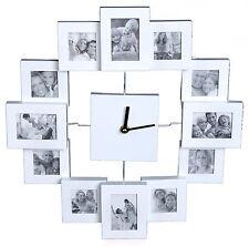 Fotouhr WEISS 12 für Fotos Bilderuhr Collage Uhr Bilderrahmen Wanduhr Designer