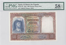 1931 Spain El Banco De Espana, 500 Pesetas, PMG 58 EPQ Choice About UNC  P#: 84