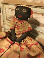Primitive AAFA Hand-Sewn Black Doll Detailed Face Blue Eyes Pinch Stitched Nose