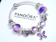 Authentic Pandora Silver Bangle Bracelet with Crystal Love European charms