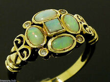 C073 Genuine 9ct SOLID Yellow Gold NATURAL OPAL & Diamond Ring made in your size
