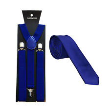 """Suspenders / Braces with Matching Classic Satin 3"""" Tie - Choice of colours"""