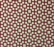 ROBERT ALLEN CATS CRADLE LACQUER RED SQUARES GEOMETRIC LINEN FABRIC BY THE YARD