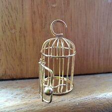 DOLL HOUSE SCALE 'GOLD' METAL BIRD CAGE WHICH OPENS !! BUY NOW & DON'T MISS OUT.
