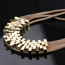 Geometric Yellow Gold Metals Brown Cord Losbter Clas Necklace L90