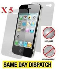 5 X Anteriore e Posteriore ANTIRIFLESSO OPACA PROTEGGI SCHERMO PELLICOLA PER IPHONE 4 4S & Cloth